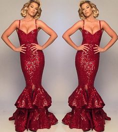 Mermaid Sexy Sequin Long Prom Dress with Tiered Sweep Train Formal Evening Gown Evening Dresses, Prom Dresses, Red Gowns, Sequin Gown, Burgundy Dress, Couture Fashion, Fashion Beauty, Formal Gowns, Sequins