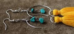Bohemian Long Fringe Tassel Thread Hoop/Dangle Turquoise & Yellow Beads Earrings #Handmade #DropDangle