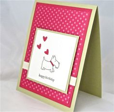 Birthday card dog handmade stamped stationery greeting card home and living. $4.50, via Etsy.