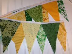 9 Feet, Bunting, Banner with 14 Fabric Pennant Flags Green and Yellow via Etsy