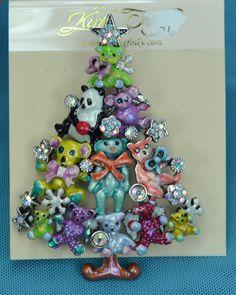 Kirks Folly Teddy Bear Time Christmas Tree Pin Brooch Pendant | eBay