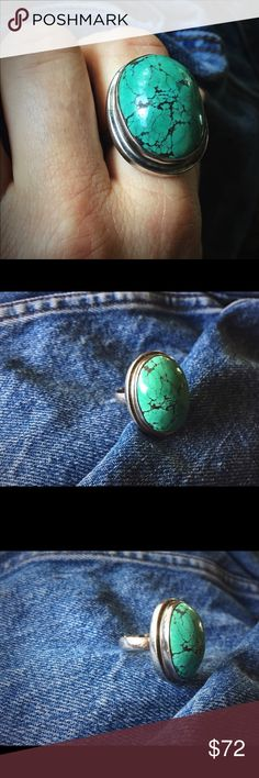 🌕 Huge Vintage Turquoise Ring 🌕 Major chunk of turquoise! Big & old 1970s ring has a huge, domed piece of genuine, unique turquoise that is a stunning sea green with a black spiderweb matrix. Sterling Silver setting that's simple and modern, this ring makes a real statement. Stellar 💫 🌟✨! Size 7 & 1/2 Vintage Jewelry Rings