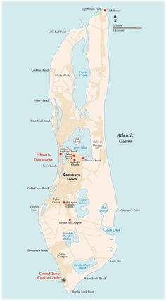 Grand Turk, map of the island we'll be going to in March. We'll be arriving at the port at the south western tip of the island I think.