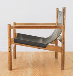 michel arnoult wood and leather sling chair 1960s
