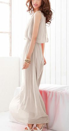 Grey Bohenmia Pleated Princess Chiffon Maxi Dress