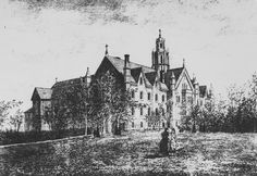 19th century drawing of the Convent of the Sacred Heart, Sault-au-Recollet, Canada.