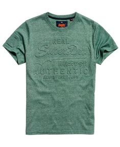 e64aa4aef00 Shop Superdry Mens Vintage Authentic Embossed T-Shirt in Cloverfield Green.  Buy now with free delivery from the Official Superdry Store.
