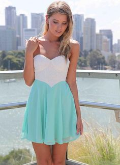 Teal/Turquoise Strapless Dress -
