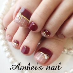 #オールシーズン #デート #女子会 #フット #ストライプ #ピンク #ボルドー #ジェルネイル #お客様 #Amber's nail アンバーズネイル #ネイルブック Toenail Art Designs, Nail Art Designs Videos, Pedicure Designs, Pedicure Nail Art, Toe Nail Color, Toe Nail Art, Nail Colors, Pretty Toe Nails, Cute Toe Nails