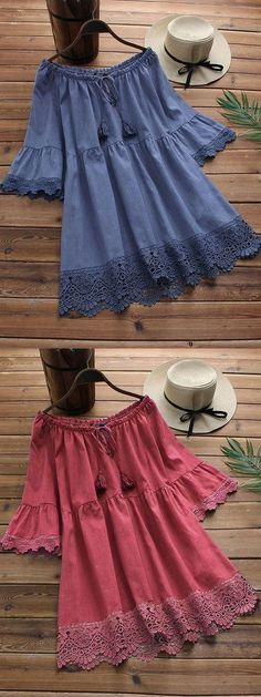 O-NEWE Fashion Off-Shoulder Lace Patchwork Shirts can cover your body well, make you more sexy, Newchic offer cheap plus size fashion tops for women. Frock Fashion, Red Fashion, Girl Fashion, Fashion Dresses, Stylish Dresses For Girls, Cute Dresses, Casual Dresses, Girls Dresses, Pakistani Dresses Casual
