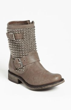 Rock this studded, leather biker boot.