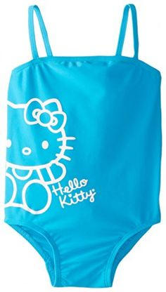 3c6591d8f9a20 Hello Kitty Little Girls' Turquoise One Piece, Aqua, 5/6. Blue SwimsuitOne  ...