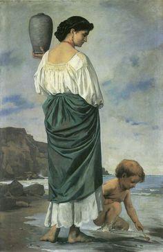 """Anselm Feuerbach, """"Am Strande, Fischermädchen in Antium"""", 1870, oil on canvas, Kunstmuseum Basel, Switzerland"""