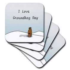 3dRose Print of I Love Groundhog Day Cartoon  Soft Coasters Set of 4 cst_204327_1 >>> Learn more by visiting the image link. (This is an affiliate link) #FurnitureBarCoasters
