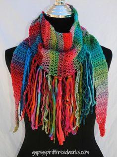 Gypsy Spirit Wild Child Crocheted Fringed Scarf