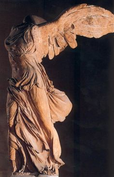 I have been left breathless by one of my most favorite pieces of sculpture in person, the Winged Victory of Samothrace (3rd to 2nd century BCE).  She graced the top of a staircase in the Louvre, Paris in France. <3