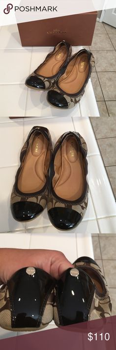 Coach Flats Monogram Flats. Patent leather trim. Authentic and new in box. Coach Shoes Flats & Loafers