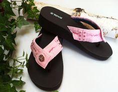 Size 8  Pink Denim Jean Flip Flop Thong Sandal   The  U-Nique | denimlover56 - Clothing on ArtFire