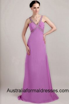 If you think red is too wild and blue is too cold, this purple long evening gown can be a good choice for you. The smooth and soft chiffon draws the charming outline of your perfect figure. The two unique straps make two gorgeous crosses in front of you and behind you. Those shinning sequins which are decorated on those straps light up your dress and your make-up.