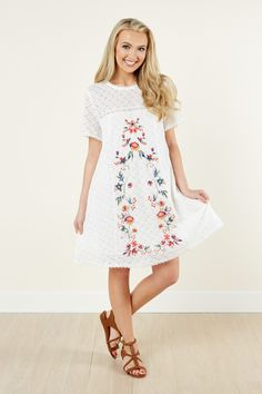 Lovely Day White Lace Embroidered Dress at reddressboutique.com