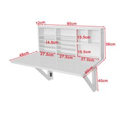 SoBuy Folding Wall-mounted Drop-leaf Table Desk with Storage Shelves, – home office organization ideas Folding Furniture, Folding Walls, Space Saving Furniture, Diy Furniture, Wall Mounted Desk Folding, Folding Desk, Hinged Table, Wall Mounted Folding Table, Palette Furniture