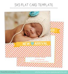 Birth Announcement Template for Photographers Photo Card Template Photography Birth Announcement Photoshop Card Template - BA141  achtergrond+ foto