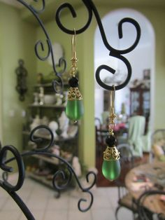 Green Frosted Recycled Glass With Faceted Onyx by JKCustomDesigns