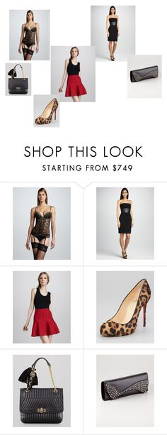 """50 Shades--Ana's closet as I see it..."" by stacy-williams-white ❤ liked on Polyvore featuring La Perla, Carmen Marc Valvo, Hervé Léger, Christian Louboutin and Lanvin"