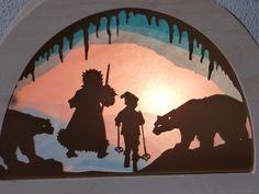 Transparant voor de silhouetlamp. Ontwerp naar het verhaal Olles skitocht: Olle gaat met oom Rijp naar koning Winter.