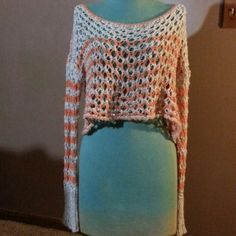 """Free People Cropped Sweater Tan and Orange striped cotton crochet design cropped sweater great for layering 14""""long Free People Sweaters"""