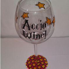 """Accio Wine"" Glass I NEED THIS"