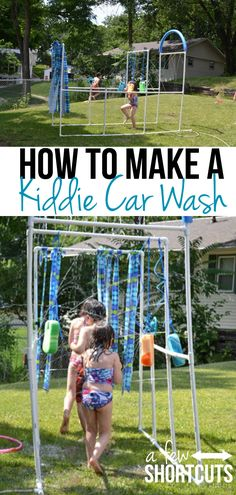 Get the kids outside and having fun this summer. Check out these directions on how easy it is to make your own kiddie car wash. So much fun! A great family diy project.