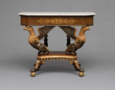 Square pier table with canted corners (one of a pair) about 1815–20 - Attributed to Duncan Phyfe (American (born in Scotland), 1770–1854) New York, New York - Rosewood veneer, mahogany veneer, mahogany, white pine, yellow-poplar, paint, brass, marble