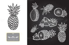 Hand Drawn Pineapples by Chantall on @creativemarket