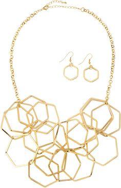 Panacea Golden Hexagonal Necklace & Earrings Set on shopstyle.com