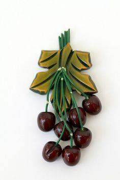 Vintage Bakelite Brooch Cherries