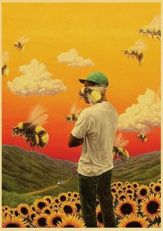 Tyler The Creator Flower Boy Band Music Cover Hip Hop Rapper Retro Poster Art Painting for Home/ Room/Bar Decor Wall Stickers - 42X30CM no frame / E192