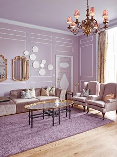 Shades of lilac living room.