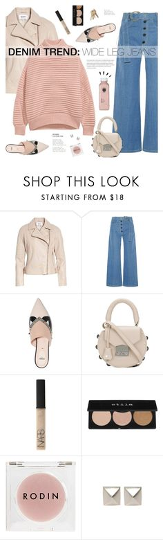 """Wide-Leg Jeans"" by mylkbar ❤ liked on Polyvore featuring BB Dakota, Rejina Pyo, Fendi, SALAR, NARS Cosmetics, Stila, Rodin, Emilie Morris, H&M and Old Navy"