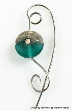 Shawl Pin, Scarf Pin, Brooch - Frosty Teal and Gray Lampwork Bead