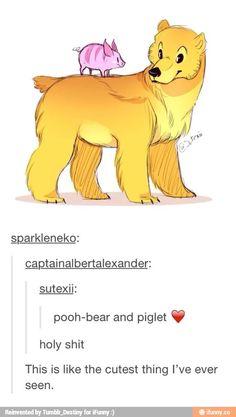 Adorable Winnie the Pooh and Piglet. I know it swears, but I couldn't help my… Disney Pixar, Disney And Dreamworks, Disney Art, Disney Stuff, Disney Animation, Disney Love, Disney Magic, Disney Memes, Walt Disney