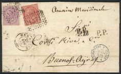 "Italy, 20/NOV/1869 MENAGGIO - ARGENTINA: complete folded letter franked by Sc.31 + 32 (Sa.20+21), numeral cancel ""1374"", sent to Buenos Aires, excellent quality, rare! Starting Price (11/2016): 89 EUR."