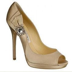 Weddbook  Elegant Beige Jimmy Choo Wedding Shoes With Diamond Accent