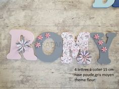 wooden letter / first name wood letter / door plate / first name to paste / wooden first name / letter to paste / decorative letter THEME flowers Name Letters, Small Letters, Wood Letters, Alphabet Letters, Western Decor, Country Decor, Bedroom Bunting, Pine Wood Flooring, Texas Star