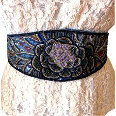 Vintage Dior Beaded Cumberbund / Sash Belt
