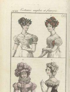 Journal des Dames et des Modes, editie Frankfurt 17 février 1822, Costumes anglois et françois (8), anonymous, 1822 - Rijksmuseum