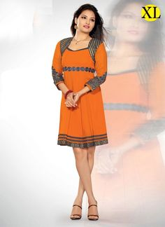 Replenishing Orange Coloured Georgette Embroidery Indian Designer Kurti At Best Prices By Uttamvastra - Online Shopping For Women