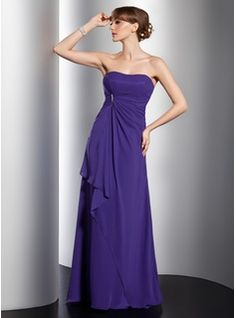 A-Line/Princess Sweetheart Floor-Length Chiffon Bridesmaid Dresses With Ruffle (007001097)