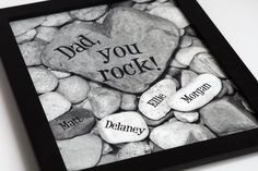 Custom Family Tree, Heart Rock Garden 8x10 black & white personalized print....Father's Day, Gift for Dad, Gift for Grandpa, Birthday. $28.00, via Etsy.