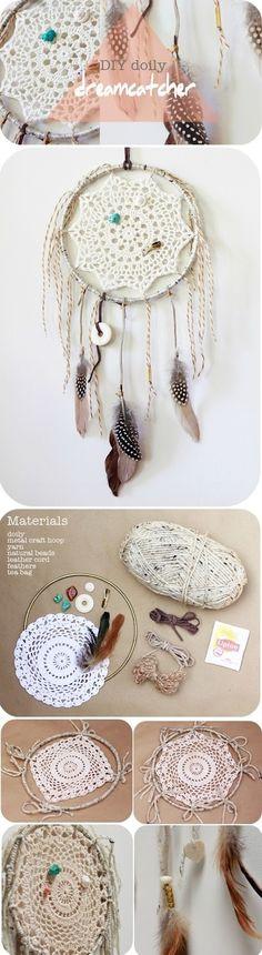 DIY Doily Dream Catcher by esmeralda Cute Crafts, Diy And Crafts, Arts And Crafts, Dreamcatchers, Crochet Projects, Craft Projects, Doily Dream Catchers, Do It Yourself Design, Crochet Dreamcatcher
